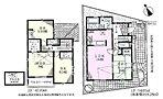 4号棟 3980万円、4LDK、土地面積91.37m2、建物面積121.72m2(車庫12.42m2含む) 間取図