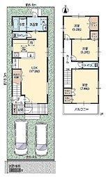 1階リビングが17.9帖・2階北側の洋室5.2帖・真ん中の洋室5.2帖・南側の洋室7.8帖です。