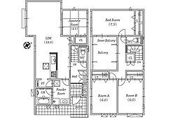 1号地間取り図。インナーバルコニーのある家。