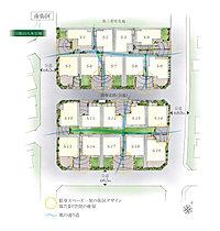 3方向道路の開放感・高いプライバシー性(敷地配置図イラスト)
