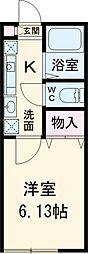ミハス高井戸西 2階1Kの間取り