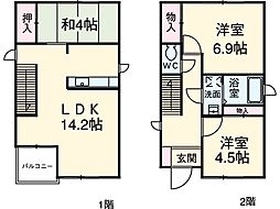 鶴里町KODATEX 1階3LDKの間取り
