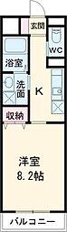 名古屋市営上飯田線 上飯田駅 徒歩8分の賃貸マンション 2階1Kの間取り