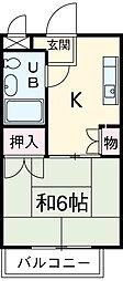 福岡ワンルームマンション 2階ワンルームの間取り