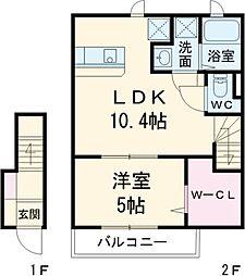 アーバンフォレスト泉大津 2階1LDKの間取り