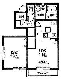 西武新宿線 航空公園駅 徒歩20分の賃貸アパート 1階1LDKの間取り