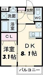 JR常磐線 柏駅 徒歩7分の賃貸アパート 1階1DKの間取り