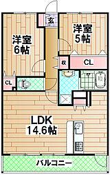 南海線 泉大津駅 徒歩3分の賃貸マンション 6階2LDKの間取り