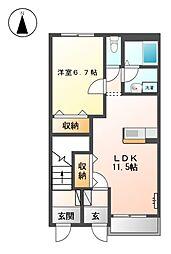 JR御殿場線 富士岡駅 徒歩13分の賃貸アパート 1階1LDKの間取り