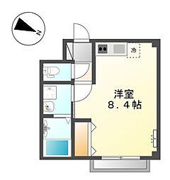 小田急小田原線 向ヶ丘遊園駅 徒歩5分の賃貸マンション 2階ワンルームの間取り