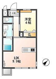 東武越生線 東毛呂駅 徒歩10分の賃貸アパート 2階1LDKの間取り