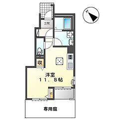 名鉄小牧線 田県神社前駅 徒歩16分の賃貸アパート 1階ワンルームの間取り