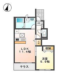 伊豆箱根鉄道駿豆線 牧之郷駅 徒歩5分の賃貸アパート 1階1LDKの間取り