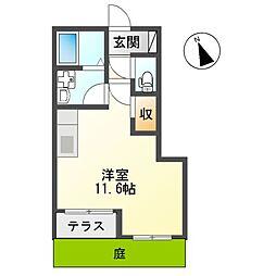 西武新宿線 東伏見駅 徒歩6分の賃貸アパート 1階ワンルームの間取り