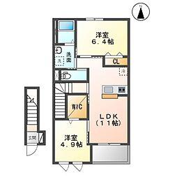 木更津市中里2丁目新築アパートA 2階2LDKの間取り