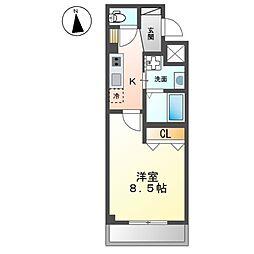 (仮称)開田三丁目新築マンション 3階1Kの間取り