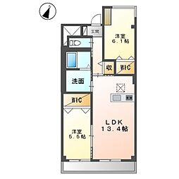 (仮称)友岡2丁目新築マンション 1階2LDKの間取り