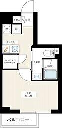 都営大江戸線 新江古田駅 徒歩4分の賃貸マンション 2階1Kの間取り
