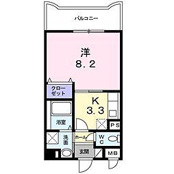 北江口2丁目マンション 1階1Kの間取り