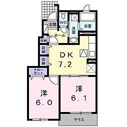 サンライズガーデンA 1階2DKの間取り