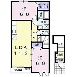 サン・クローネ チヨダA 2階2LDKの間取り