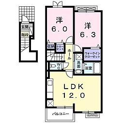 サン・クローネ チヨダB 2階2LDKの間取り