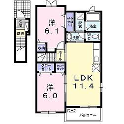 ファーチャ・イターナル H 2階2LDKの間取り