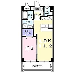 シュガーホーム 2階1LDKの間取り