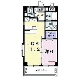 シュガーホーム 3階1LDKの間取り
