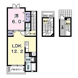 埼玉新都市交通 内宿駅 徒歩12分の賃貸アパート 3階1LDKの間取り