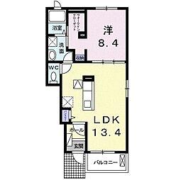 名鉄犬山線 柏森駅 徒歩10分の賃貸アパート 1階1LDKの間取り