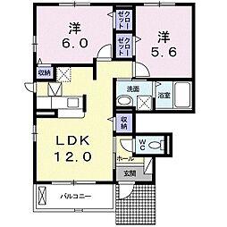 遠州鉄道 西鹿島駅 徒歩15分の賃貸アパート 1階2LDKの間取り