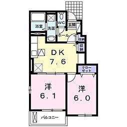 JR香椎線 須恵中央駅 バス5分 須恵消防格納庫下車 徒歩4分の賃貸アパート 1階2DKの間取り
