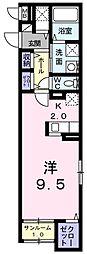 JR青梅線 小作駅 徒歩2分の賃貸マンション 1階1Kの間取り
