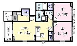 Yハウス I 1階2LDKの間取り