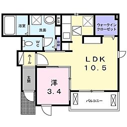 JR東北本線 氏家駅 バス20分 ひばりヶ丘入口下車 徒歩3分の賃貸アパート 1階1LDKの間取り