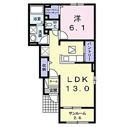 JR両毛線 国定駅 徒歩28分の賃貸アパート 1階1LDKの間取り