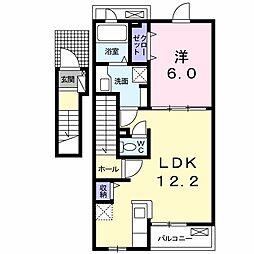 ファミールK山崎 2階1LDKの間取り