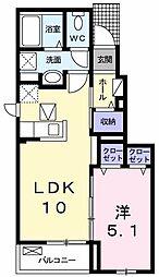 平沢アパート 1階1LDKの間取り