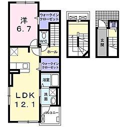 スカイレジデンスII 3階1LDKの間取り