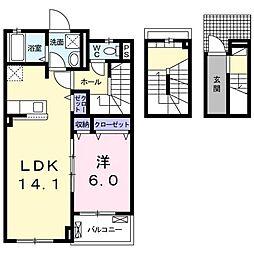 JR御殿場線 裾野駅 徒歩11分の賃貸アパート 3階1LDKの間取り