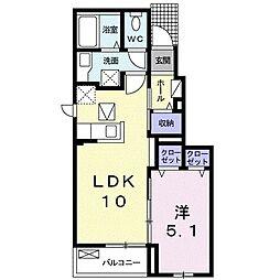 名鉄名古屋本線 本星崎駅 徒歩14分の賃貸アパート 1階1LDKの間取り
