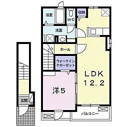 アメニティ六反田III 2階1LDKの間取り