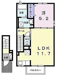 JR中央本線 春日井駅 徒歩24分の賃貸アパート 2階1LDKの間取り