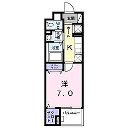 クラッテーロ国分寺 3階1Kの間取り