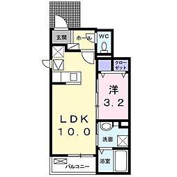 JR予讃線 端岡駅 徒歩26分の賃貸アパート 1階1LDKの間取り