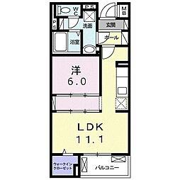 沖縄都市モノレール 古島駅 バス99分 宇舎川下車 徒歩13分の賃貸マンション 2階1LDKの間取り