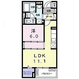沖縄都市モノレール 古島駅 バス99分 宇舎川下車 徒歩13分の賃貸マンション 3階1LDKの間取り