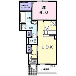 東武宇都宮線 壬生駅 徒歩19分の賃貸アパート 1階1LDKの間取り