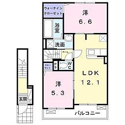 東武宇都宮線 壬生駅 徒歩19分の賃貸アパート 2階2LDKの間取り